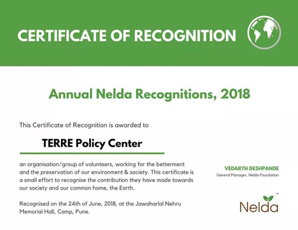 TERRE awarded with 'Certificate of recognition' by Nelda